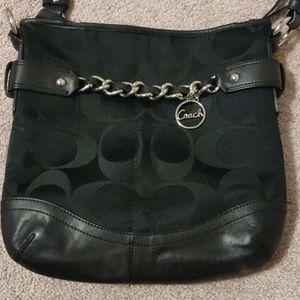 Coach Signature F19730 Chain Black Crossbody Bag